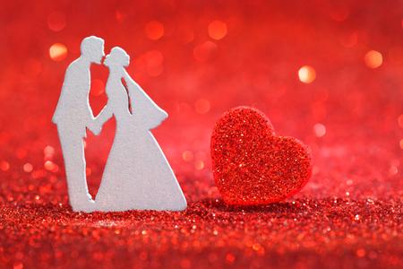 Wedding couple with heart Stock Photo