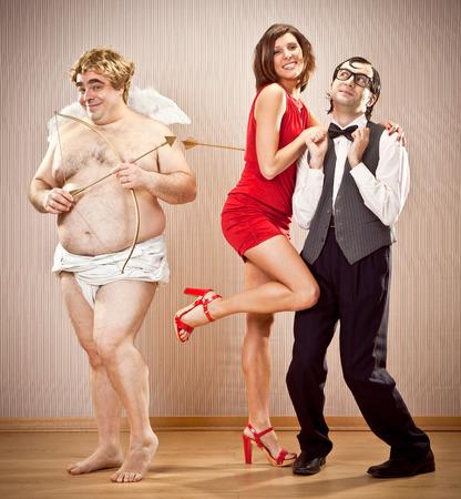 cupid man: shy nerd boyfriend man found love with cupid help for valentine day