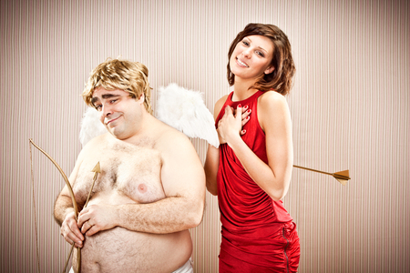 wise woman: wise cupid fall in love with beautiful woman for valentine day