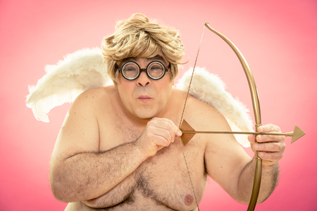 love cupid with glasses bow and arrow