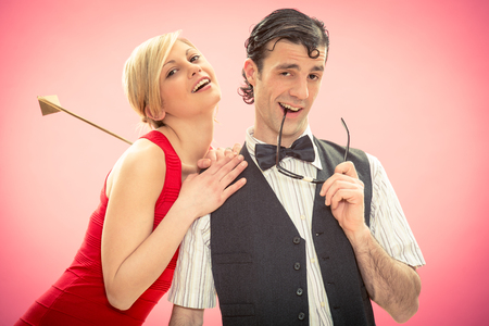 cupid man: Nerd man boyfriend woman he get love by cupid arrow for valentine day