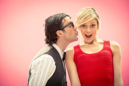 Nerd man boyfriend kiss his girlfriend portrait love for valentine day