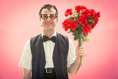 nerd man with flowers love portrait