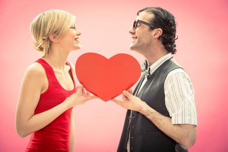 Nerd man and woman love portrait Stok Fotoğraf