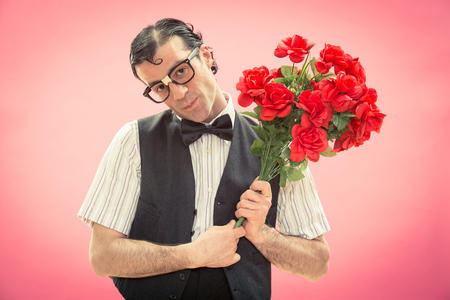 nerd man rose flower love portrait