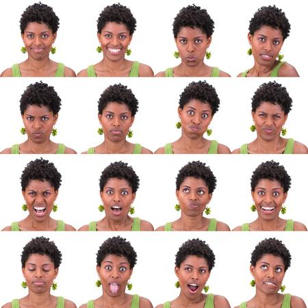 rizado Latina joven equipo de recogida de la mujer del pelo negro corto de la expresión de la cara como feliz, triste, enojado, sorpresa, bostezar aislado en blanco