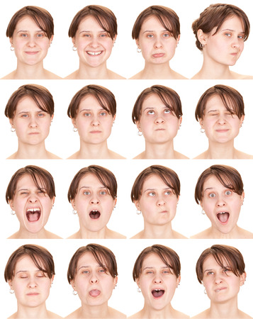 red head: red head adult caucasian woman collection set of face expression like happy, sad, angry, surprise, yawn isolated on white