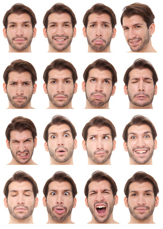 unhappy man: brunette short hair adult caucasian man collection set of face expression like happy, sad, angry, surprise, yawn isolated on white