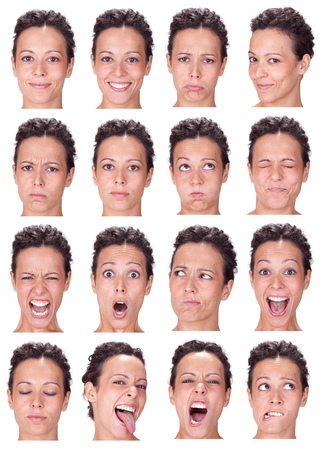 brunette black hair young caucasian woman collection set of face expression like happy, sad, angry, surprise, yawn isolated on white Banco de Imagens