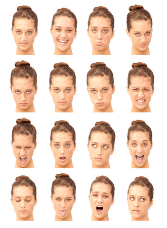 face expression: red head young  caucasian woman collection set of face expression like happy, sad, angry, surprise, yawn isolated on white