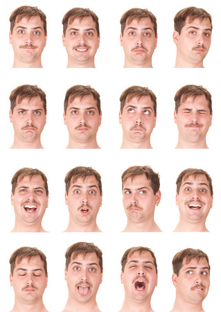 red head: red head mustache young caucasian man collection set of face expression like happy, sad, angry, surprise, yawn isolated on white Stock Photo