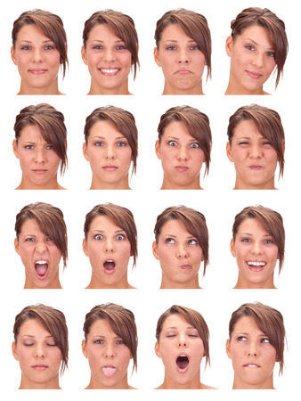 red head: red head young caucasian woman collection set of face expression like happy, sad, angry, surprise, yawn isolated on white
