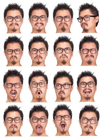 オタク眼鏡黒と表情のひげ若いアジア男コレクション セット幸せ、悲しい、怒っているような驚き、あくびの分離ホワイト