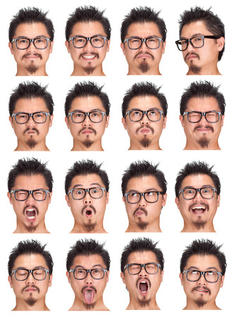 nerd glasses black and beard young asian man collection set of face expression like happy, sad, angry, surprise, yawn isolated on white