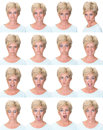 face expressions: short hair blonde adult casual caucasian woman collection set of face expression like happy, sad, angry, surprise, yawn isolated on white