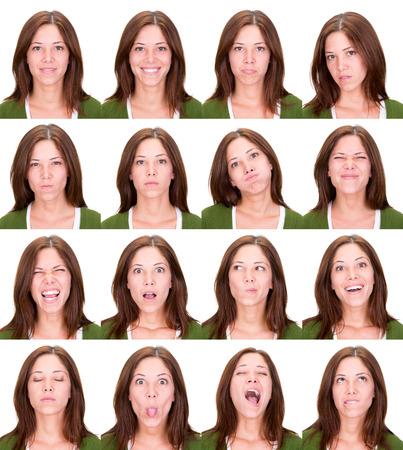 長い赤毛頭若い表情のカジュアルな白人女性コレクション セット幸せ、悲しい、怒っているような驚き、あくびの分離ホワイト