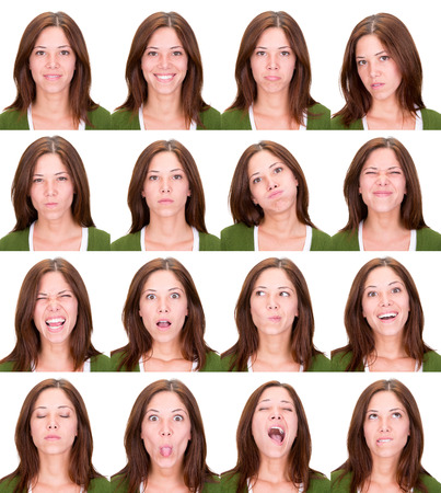 long hair red head young casual caucasian woman collection set of face expression like happy, sad, angry, surprise, yawn isolated on white