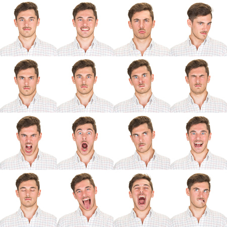 young man short hair: short and black hair mustache young caucasian man collection set of face expression like happy, sad, angry, surprise, yawn isolated on white