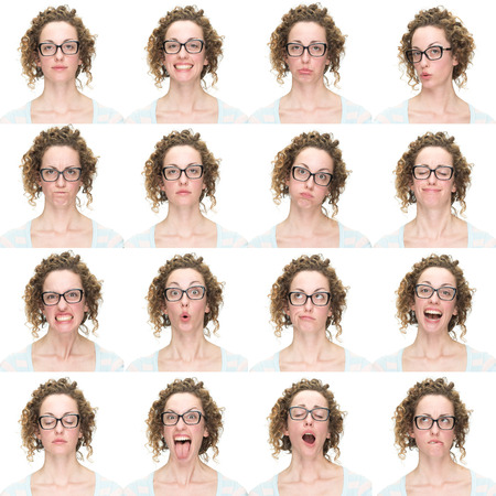 face expression: curly  brunette with glasses young caucasian woman collection set of face expression like happy, sad, angry, surprise, yawn isolated on white