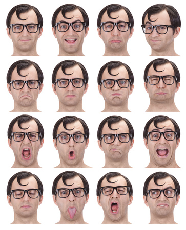 nerd: brunette glasses nerd adult caucasian man collection set of face expression like happy, sad, angry, surprise, yawn isolated on white