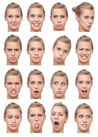 金髪ストレートヘア表情の若い白人女性コレクション セット幸せ、悲しい、怒っているような驚き、あくびの分離ホワイト