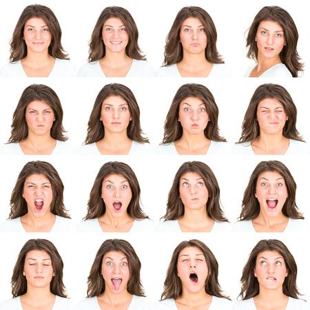 長い髪ブルネット若い表情のカジュアルな白人女性コレクション セット幸せ、悲しい、怒っているような驚き、あくびの分離ホワイト 写真素材