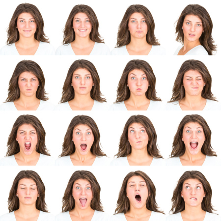 morena: morena de pelo largo joven caucásico colección casual mujer conjunto de la expresión de la cara como feliz, triste, enojado, sorpresa, bostezar aislado en blanco Foto de archivo