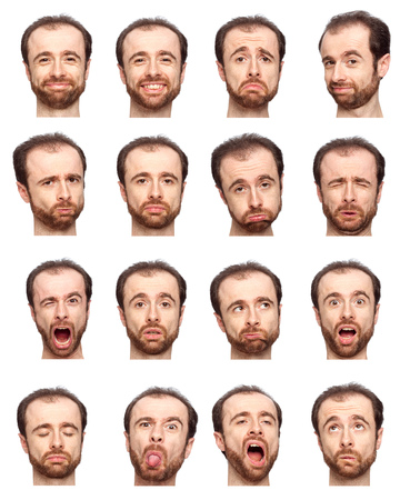man relax: bald beard adult caucasian man collection set of face expression like happy, sad, angry, surprise, yawn isolated on white