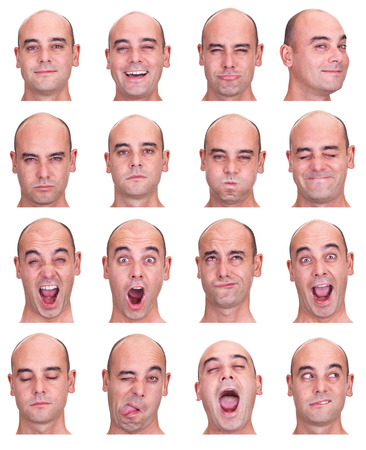 crying face: bald brunette adult caucasian man collection set of face expression like happy, sad, angry, surprise, yawn isolated on white