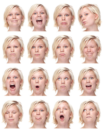 face expression: blonde european young caucasian woman collection set of face expression like happy, sad, angry, surprise, yawn isolated on white
