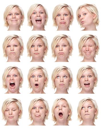 rubia caucásica conjunto de recopilación mujer europea de expresión cara como feliz, triste, enojado, sorpresa, bostezar aislado en blanco