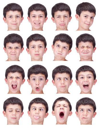 short hair brunette kid caucasian boy collection set of face expression like happy, sad, angry, surprise, yawn isolated on white Banco de Imagens