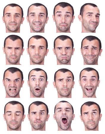 表情の短い髪ブルネット アダルト白人男コレクション セット幸せ、悲しい、怒っているような驚き、あくびの分離ホワイト