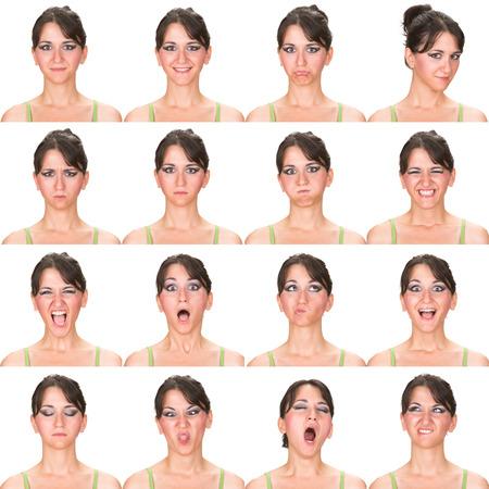 adulto de pelo negro colección de la mujer caucásica conjunto de la expresión de la cara como feliz, triste, enojado, sorpresa, bostezar aislado en blanco
