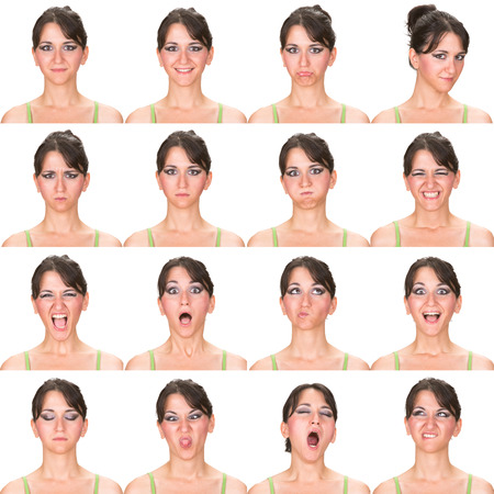 laughing face: black hair adult caucasian woman collection set of face expression like happy, sad, angry, surprise, yawn isolated on white