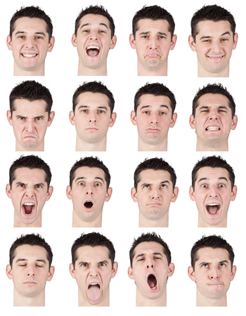 laughing face: brunette short hair young caucasian man collection set of face expression like happy, sad, angry, surprise, yawn isolated on white Stock Photo