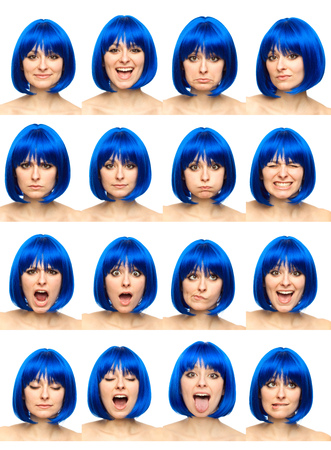 blue wig young caucasian woman collection set of face expression like happy, sad, angry, surprise, yawn isolated on white Banco de Imagens