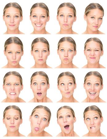 Blonde european erwachsenen kaukasischen Frau Sammlung von Gesichtsausdruck gesetzt wie glücklich, traurig, wütend, Überraschung, Gähnen, isoliert auf weiss Standard-Bild - 53686563