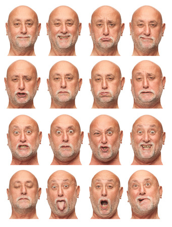 face expression: bald beard senior caucasian man collection set of face expression like happy, sad, angry, surprise, yawn isolated on white