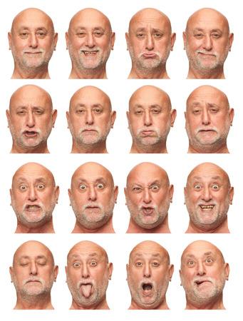 mayor colección de hombre caucásico calvo barba conjunto de la expresión de la cara como feliz, triste, enojado, sorpresa, bostezar aislado en blanco Foto de archivo