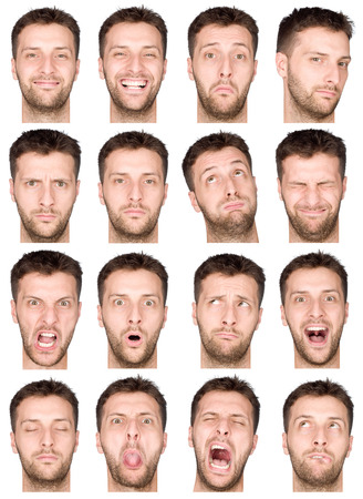 laughing face: short hair brunette adult caucasian man collection set of face expression like happy, sad, angry, surprise, yawn isolated on white