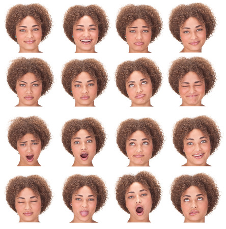 the yawn: curly long hair young african woman collection set of face expression like happy, sad, angry, surprise, yawn isolated on white Stock Photo