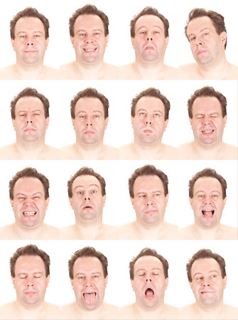 red head: bald red head adult caucasian man collection set of face expression like happy, sad, angry, surprise, yawn isolated on white Stock Photo