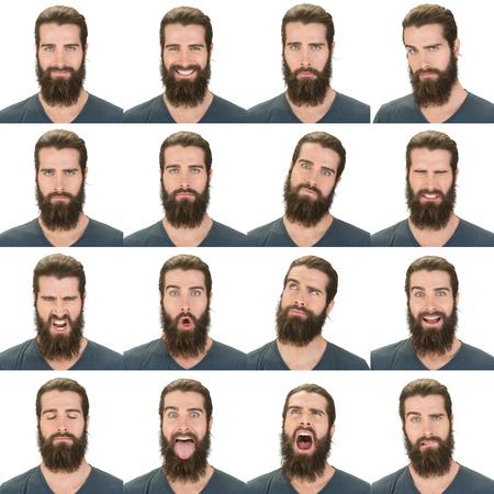 長くて黒い髪ひげ若い表情の白人男コレクション セット幸せ、悲しい、怒っているような驚き、あくびの分離ホワイト