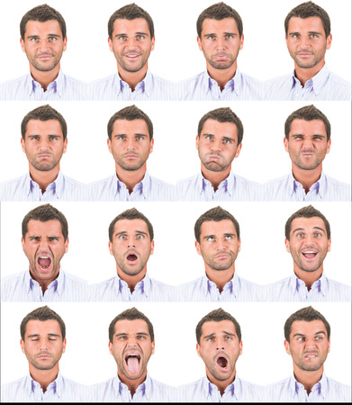 face expression: brunette short hair young business caucasian man collection set of face expression like happy, sad, angry, surprise, yawn isolated on white Stock Photo