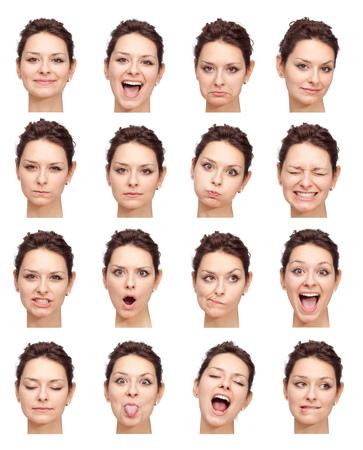 表情の白人女性コレクション セット幸せ、悲しい、怒っているような驚き、あくびの分離白ブルネットの美しい若い
