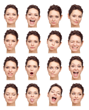 face expression: brunette beautiful young caucasian woman collection set of face expression like happy, sad, angry, surprise, yawn isolated on white