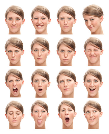blonde young caucasian woman collection set of face expression like happy, sad, angry, surprise, yawn isolated on white