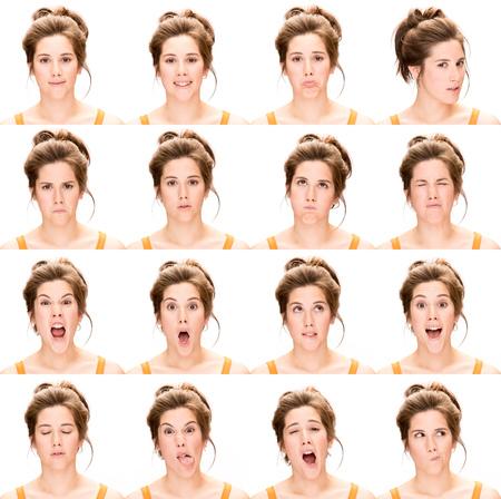 colección joven mujer caucásica morena de pelo largo set de expresión cara como feliz, triste, enojado, sorpresa, bostezar aislado en blanco Foto de archivo