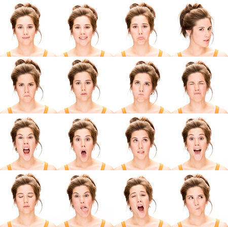 agotado: colección joven mujer caucásica morena de pelo largo set de expresión cara como feliz, triste, enojado, sorpresa, bostezar aislado en blanco Foto de archivo